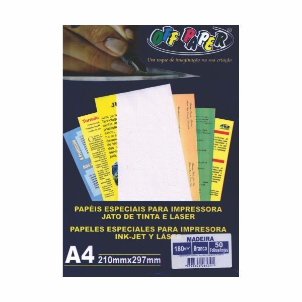 PAPEL A4 180GR OFFPAPER MADEIRA BR C/50 88