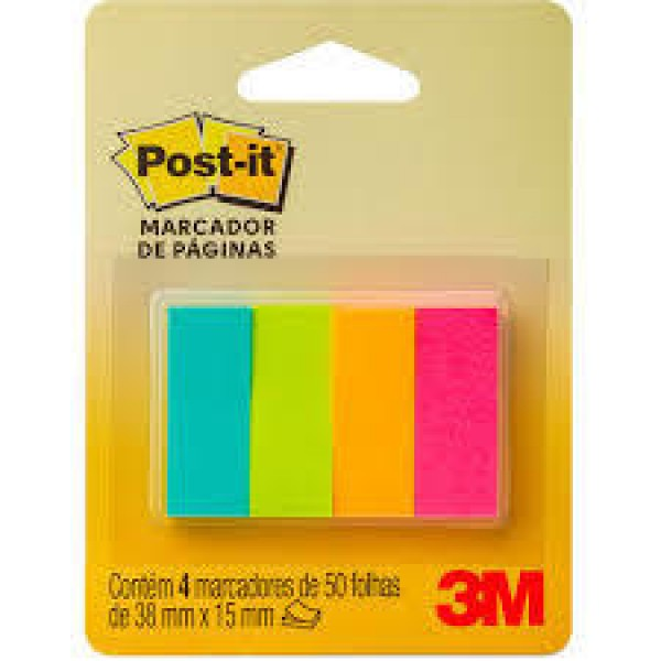 ST - MARCADOR DE PAGINAS POST-IT 3M 38X15 3M 50FL C/04 BL 12877